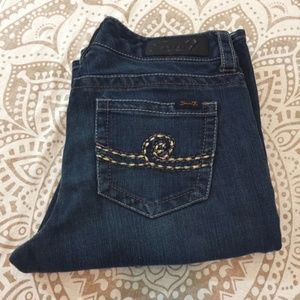 Seven7 Bootcut Jeans Sz 8 Bling Rhinestone Buttons